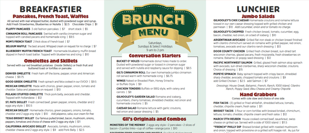Gilhooley's Brunch Menu